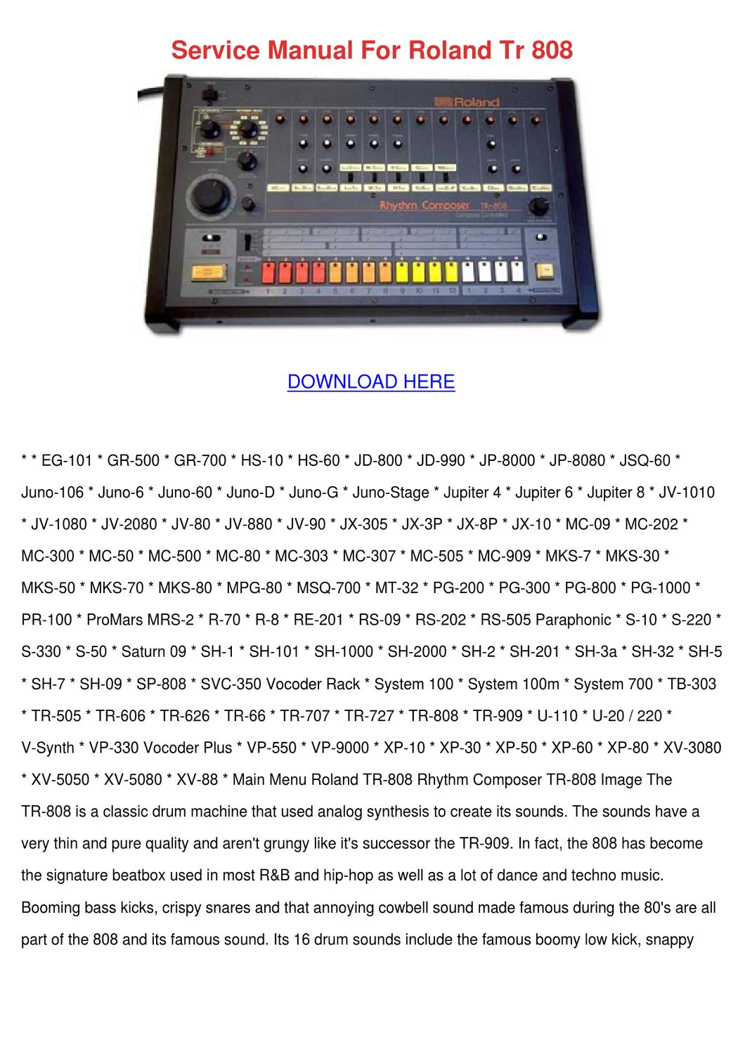Service Manual For Roland Tr 808 by Scarlet Tabron - issuu