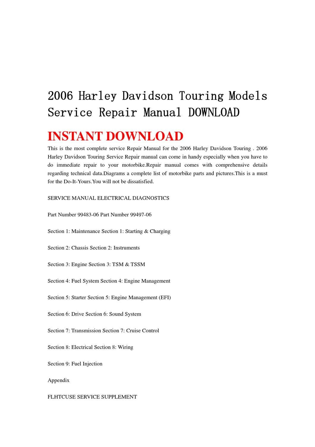 2006 Harley Davidson Touring Models Service Repair Manual