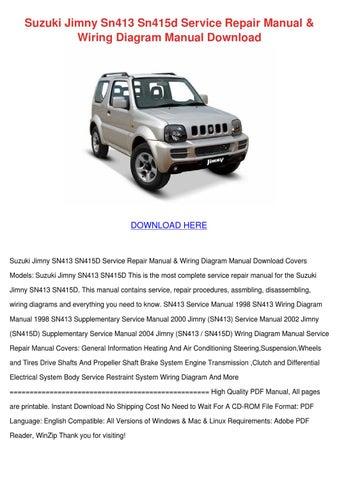 Suzuki Jimny Sn413 Sn415d Service Repair Manu by Charissa Duskin ...