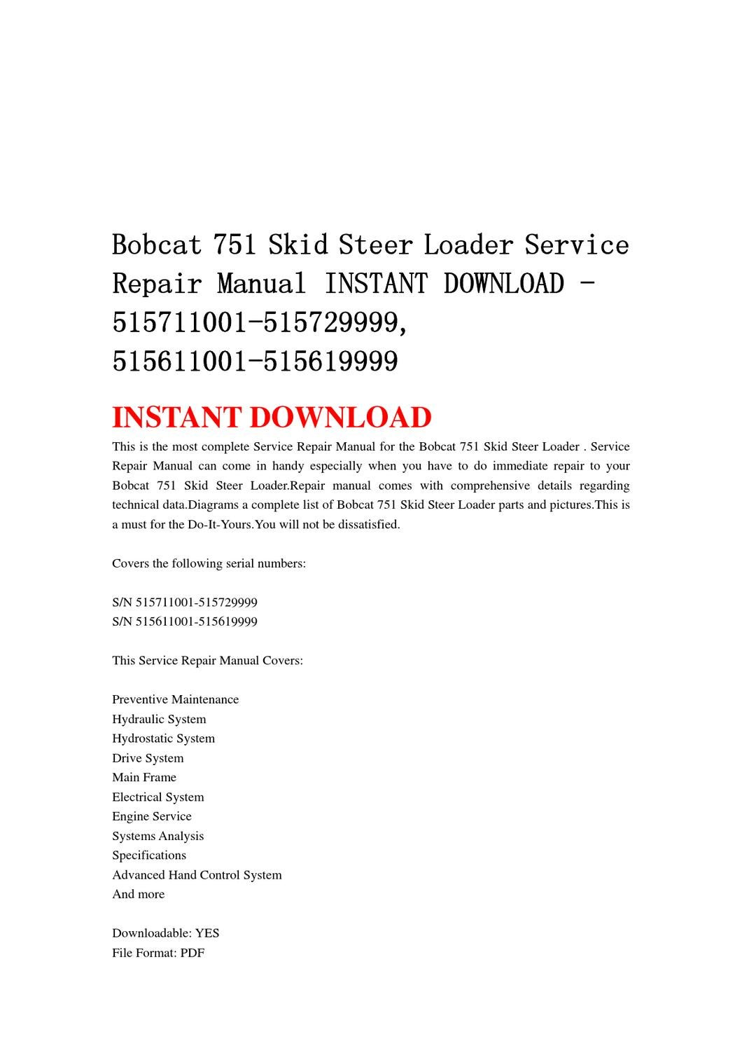 bobcat 751 skid steer loader service repair manual instant download -  515711001-515729999, 515611001 by yu jiew - issuu