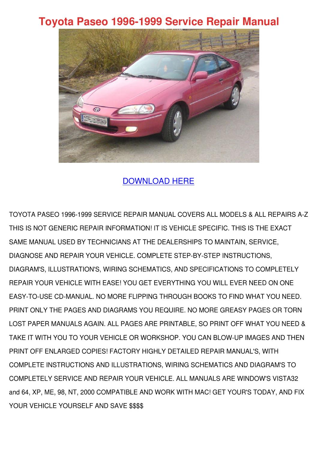 Manuals 1992 Toyota Paseo Service Manual Full Version Hd Quality Service Manual Subwiring Contearreda It