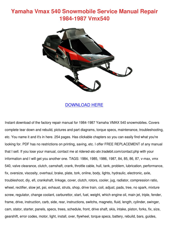 Yamaha Vmax 540 Snowmobile Service Manual Rep By Charissa Duskin Issuu Engine Diagram
