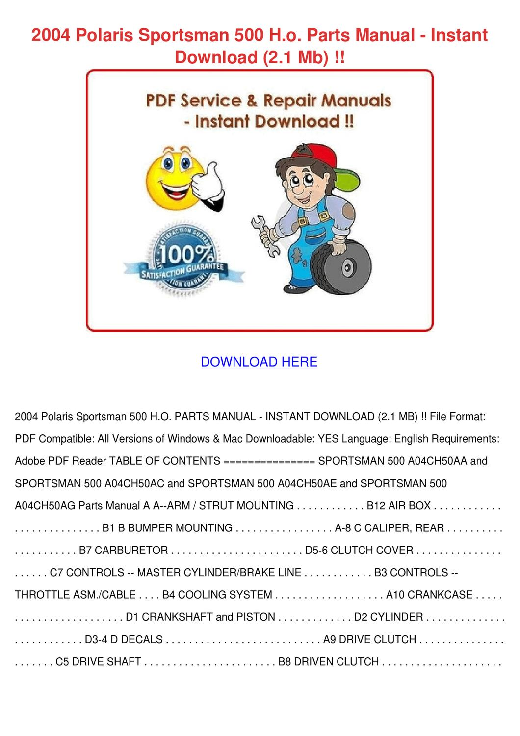 2004 Polaris Sportsman 500 Ho Parts Manual In by Charlyn Obst - issuu
