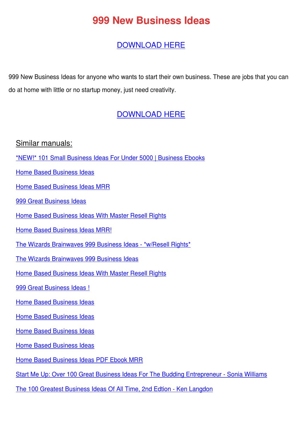 999 New Business Ideas by Charlyn Obst - issuu