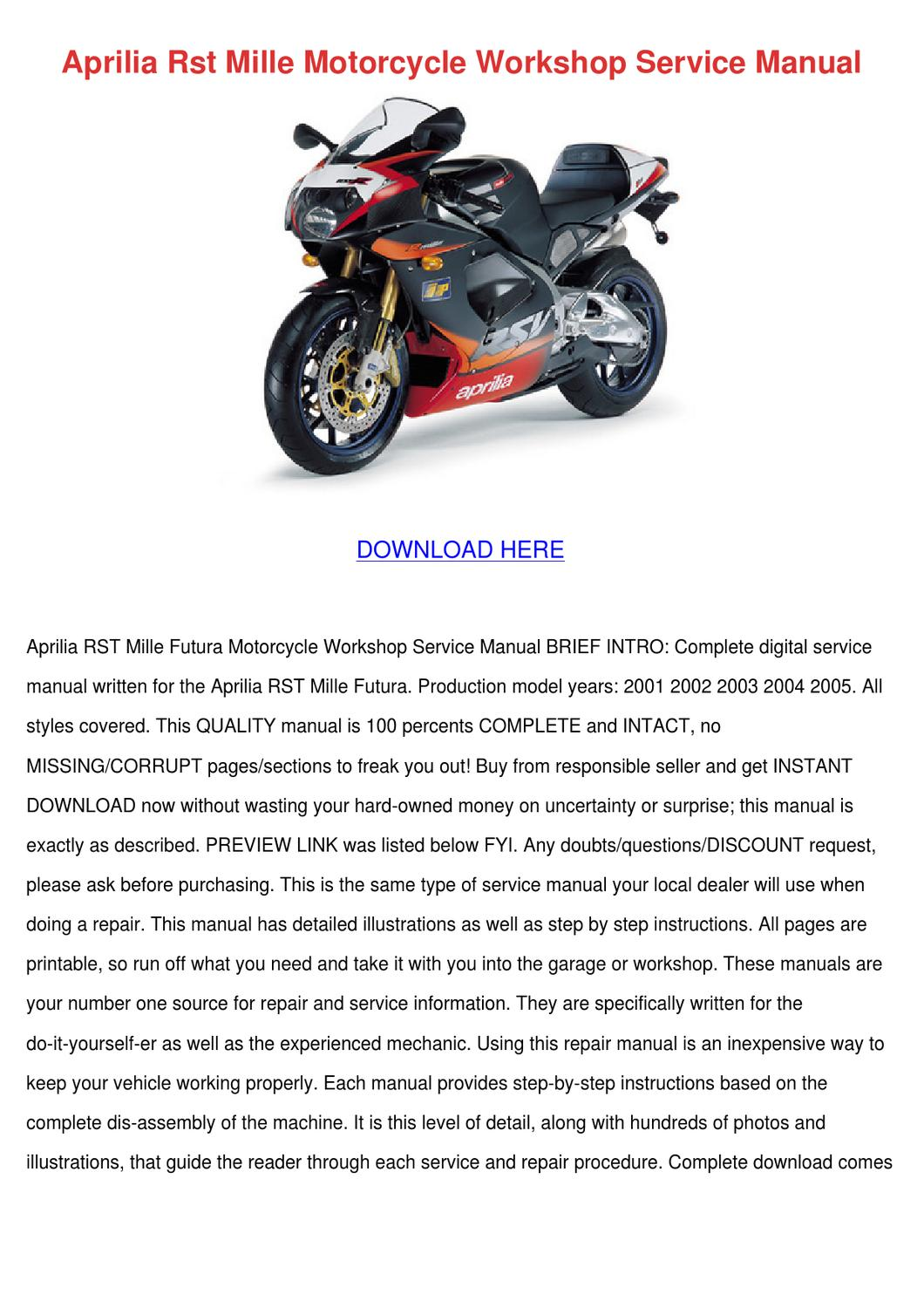 Aprilia Rst Mille Motorcycle Workshop Service by Charlyn Obst - issuu