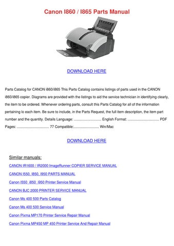 canon i860 i865 parts manual by alex selmer issuu rh issuu com Canon I860 Windows 8 I860 Baby Phat