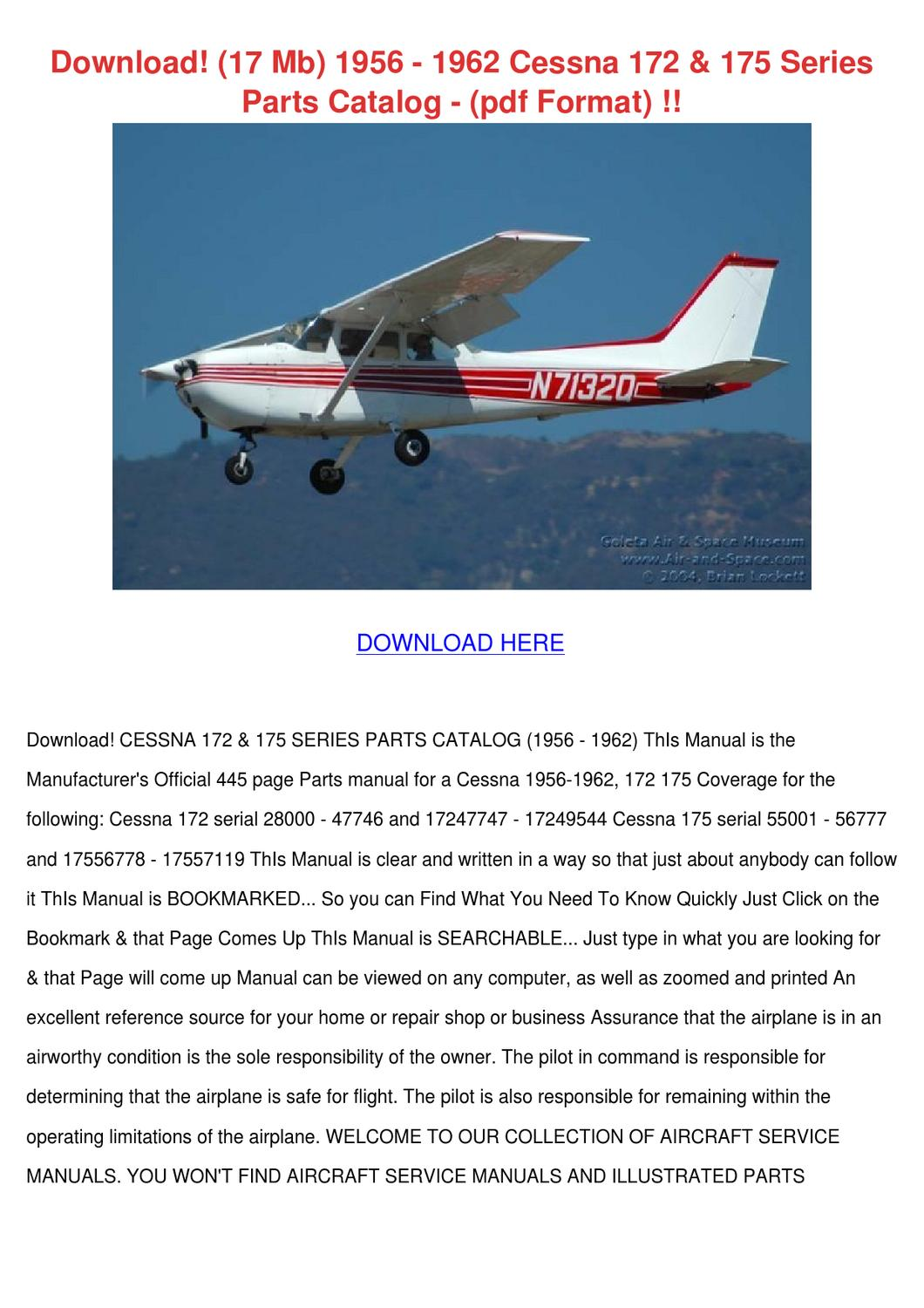 Download 17 Mb 1956 1962 Cessna 172 175 Serie By Alex Selmer Issuu