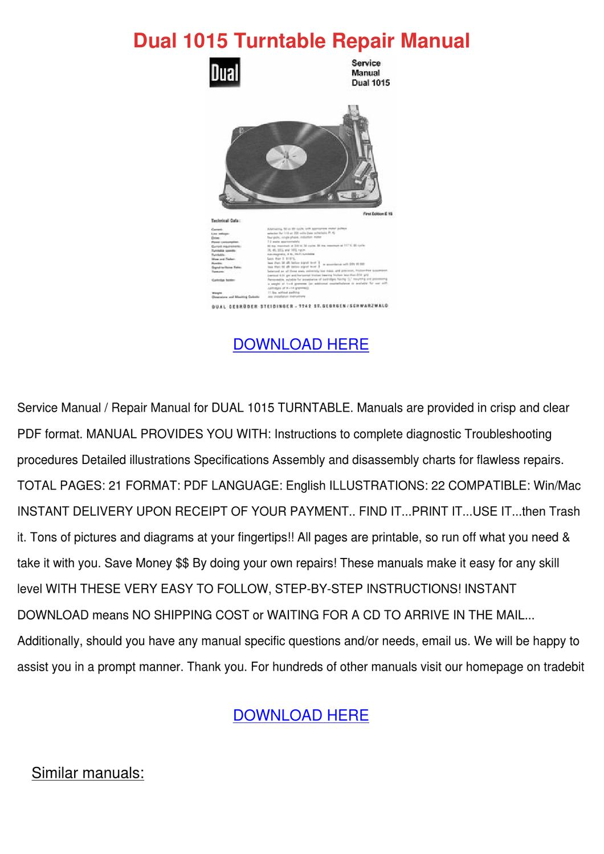 Dual 1015 Turntable Repair Manual by Alex Selmer - issuu