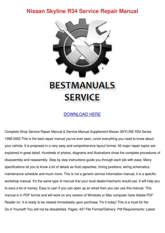 Nissan Skyline R34 Service Repair Manual By Francie Carasco Issuu