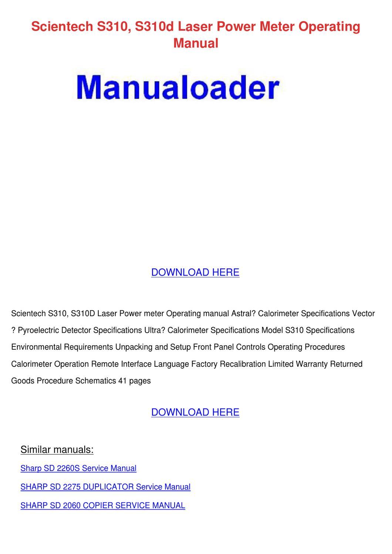 Scientech S310 S310d Laser Power Meter Operat by Francie Carasco ...