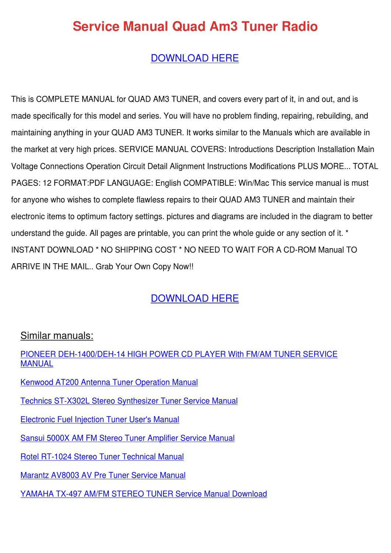 Service Manual Quad Am3 Tuner Radio by Francie Carasco - issuu