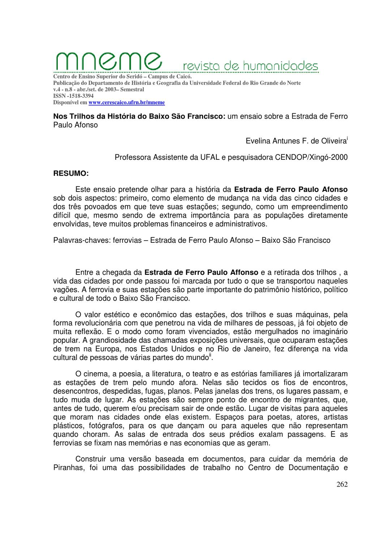 b608e887b Nos Trilhos da História do Baixo São Francisco: um ensaio sobre a Estrada  de FerroPaulo Afonso by Canoa Docs - issuu
