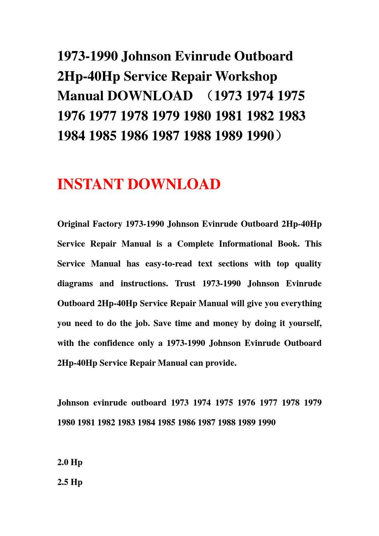 1974 evinrude 9 9 Manual