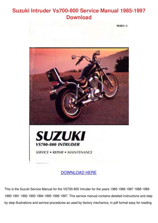 Suzuki Intruder Vs700 800 Service Manual 1985 by So Hayase - issuu