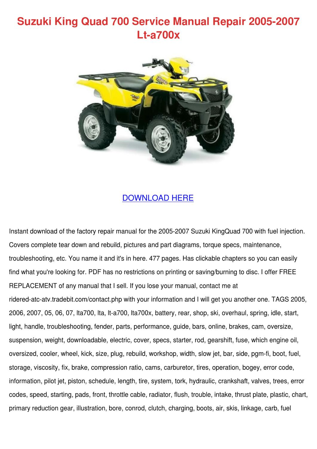 Suzuki King Quad 700 Service Manual Repair 20 by So Hayase - issuu