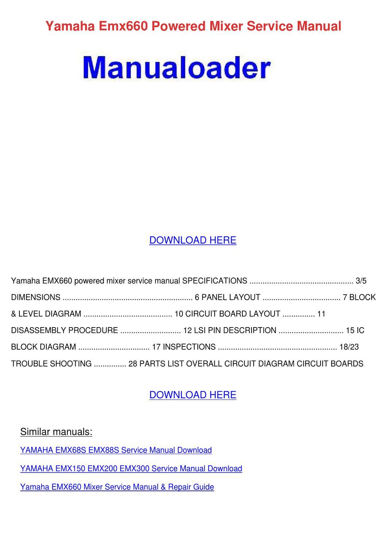 Yamaha Emx660 Powered Mixer Service Manual By So Hayase