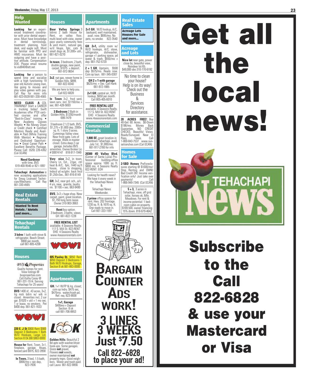 The Weekender 05-17 by Tehachapi News - issuu