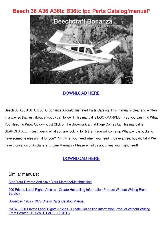 Bonanza a36 parts manual