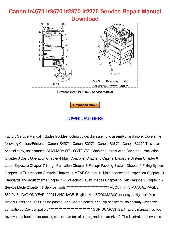 canon ir4570 ir3570 ir2870 ir2270 service rep by marietta paynter rh issuu com Canon Camera Repair Manual canon ir2270 service manual pdf free download