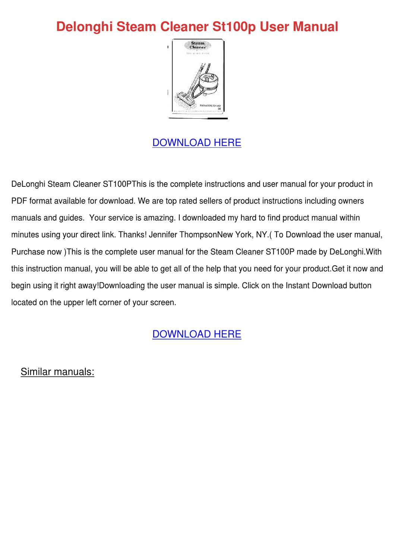 Delonghi Steam Cleaner St100p User Manual by Celinda Fitten