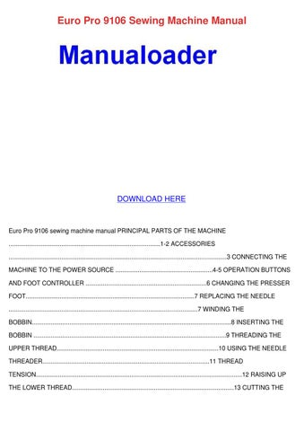 Euro Pro 40 Sewing Machine Manual By Celinda Fitten Issuu Simple Euro Pro 9120 Sewing Machine