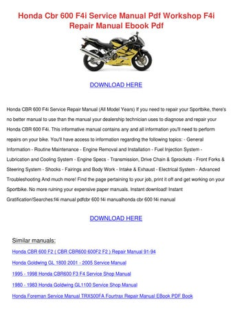 Honda Cbr 600 F4i Service Manual Pdf Workshop By Celinda Fitten Issuu