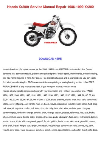 honda xr200r service manual repair 1986 1999 by celinda fitten issuu rh issuu com honda xr 200 workshop manual honda xr 200 service manual pdf