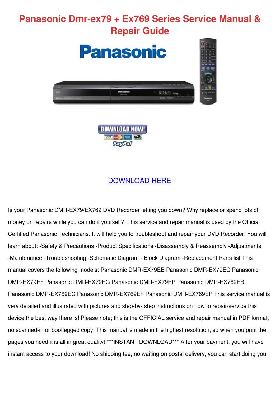 Panasonic Dmr Ex79 Ex769 Series Service Manua by Versie