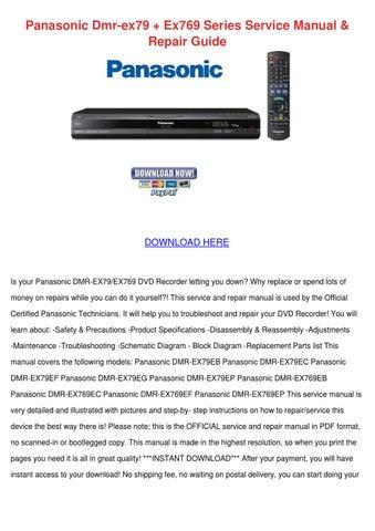 panasonic dmr ex79 ex769 series service manual repair guide