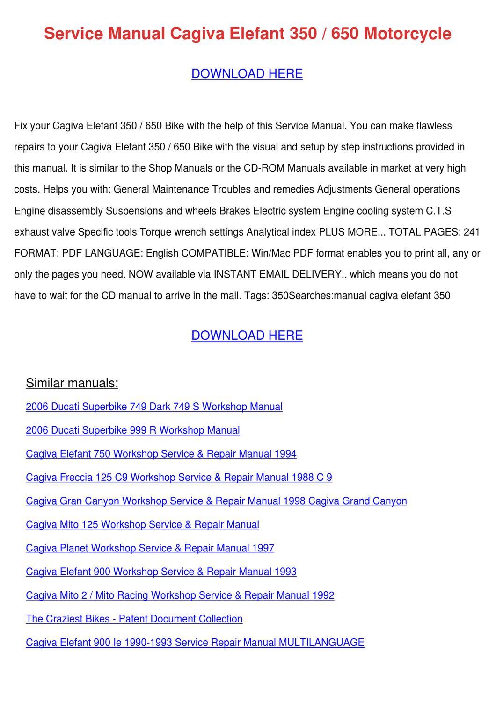 service manual cagiva elefant 350 650 motorcy by versie ellingson rh issuu com 2000 Cagiva Gran Canyon Review cagiva gran canyon 900 manual