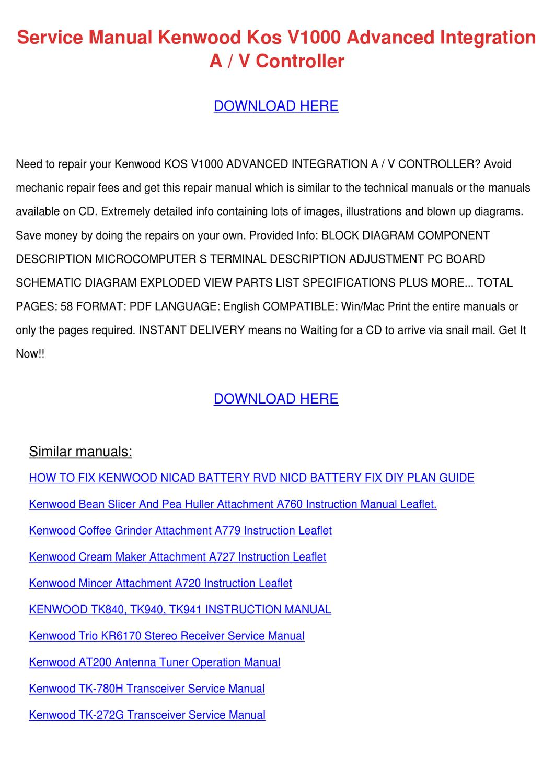Service Manual Kenwood Kos V1000 Advanced Int by Versie Ellingson ...