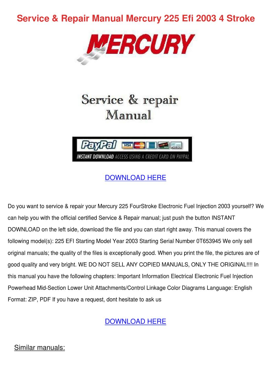Service Repair Manual Mercury 225 Efi 2003 4 by Versie