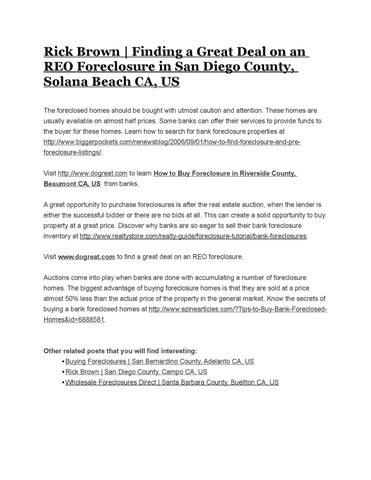 rick brown finding a great deal on an reo foreclosure in san diego