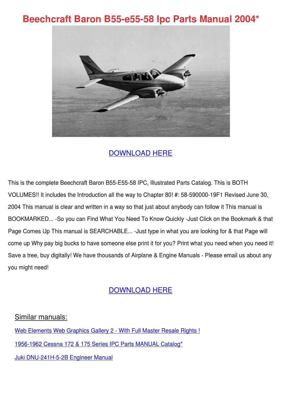 Beechcraft Baron B55 E55 58 Ipc Parts Manual by Celesta Samford ...