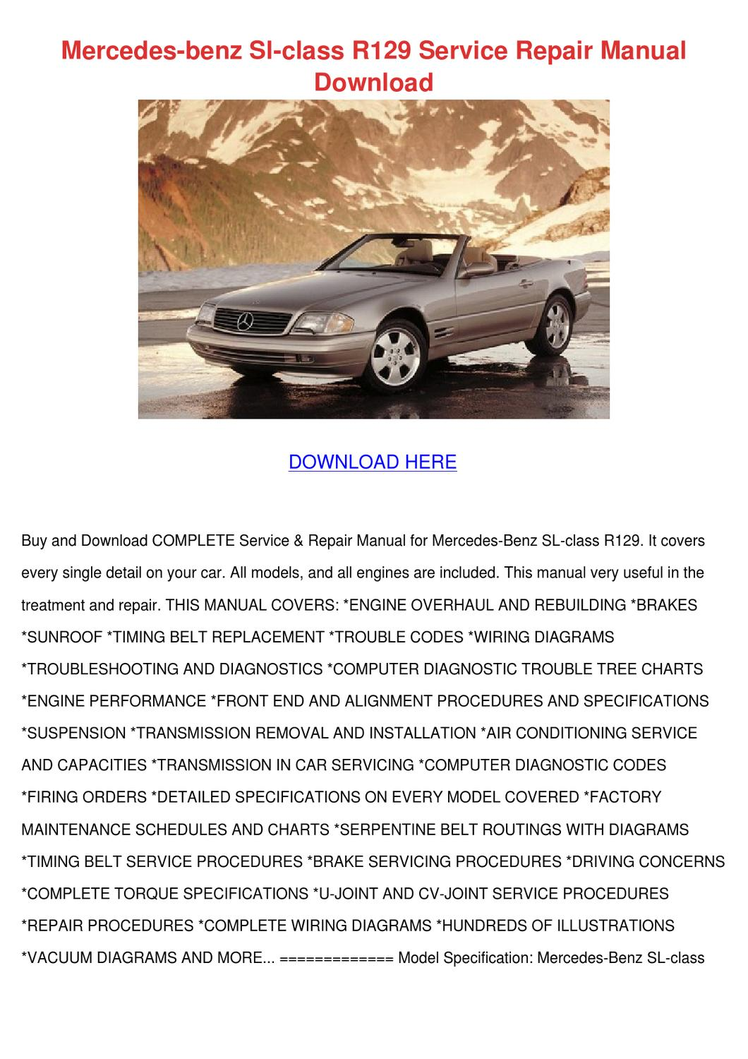Mercedes Benz Sl Class R129 Service Repair Ma by Mittie Dado