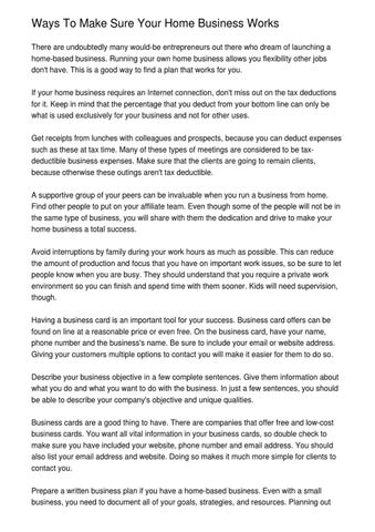 Ways To Make Sure Your Home Business Works By Oakley Ewing Issuu