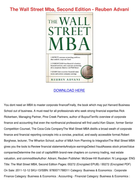 The Wall Street Mba Second Edition Reuben Adv by Telma Morson - issuu