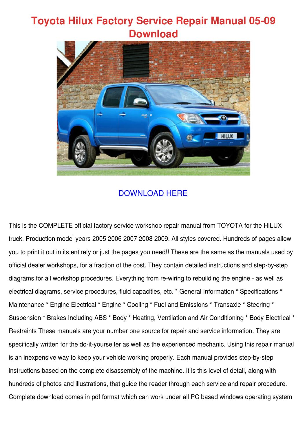 Toyota Hilux Factory Service Repair Manual 05 By Telma