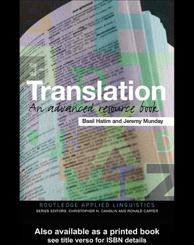 Translation an advanced resource book by andre damasceno issuu translation routledge applied linguistics is a series of comprehensive resource books providing students and researchers with the support they need for fandeluxe Images
