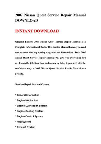 2007 nissan quest service repair manual download by yu jieo issuu rh issuu com 2007 Nissan Quest Minivan 2007 Nissan Quest Interior