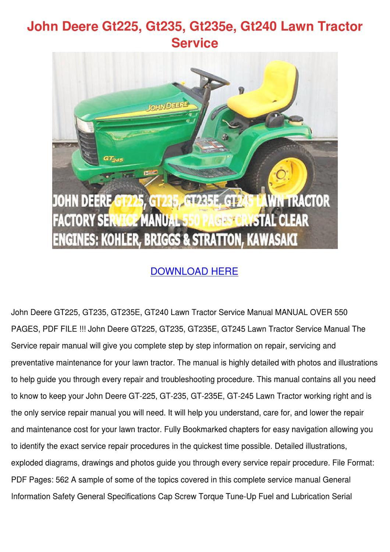 John Deere Gt225 Gt235 Gt235e Gt245 Lawn Tractor Pdf Manual Guide