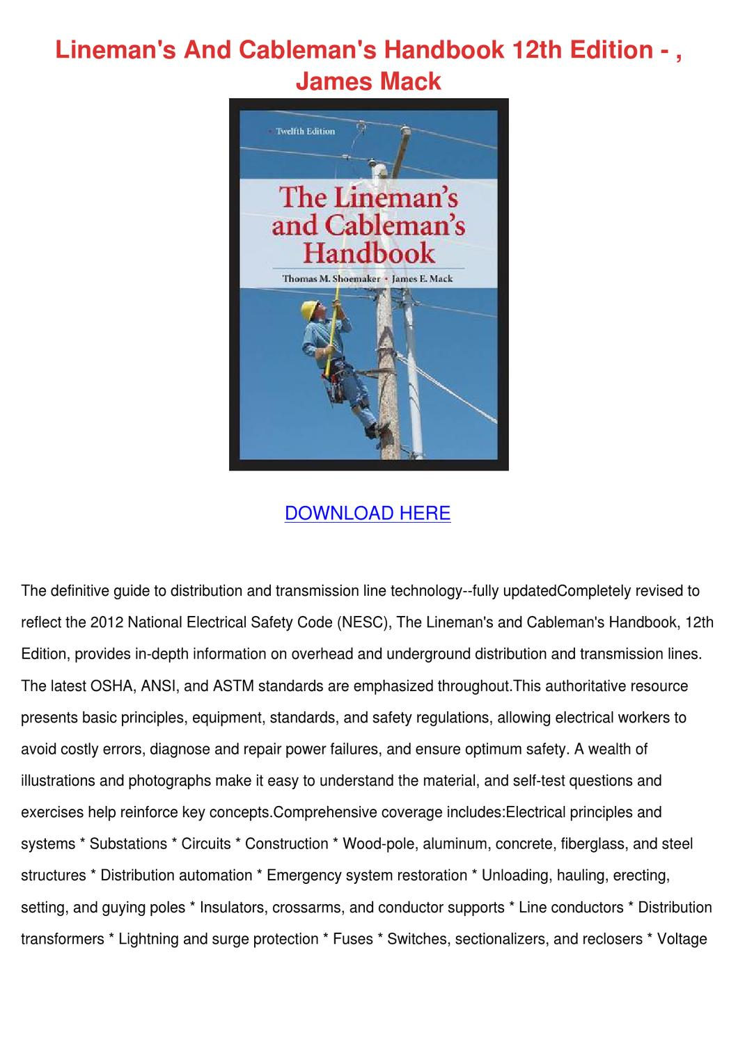 Linemans And Cablemans Handbook 12th Edition By Leticia