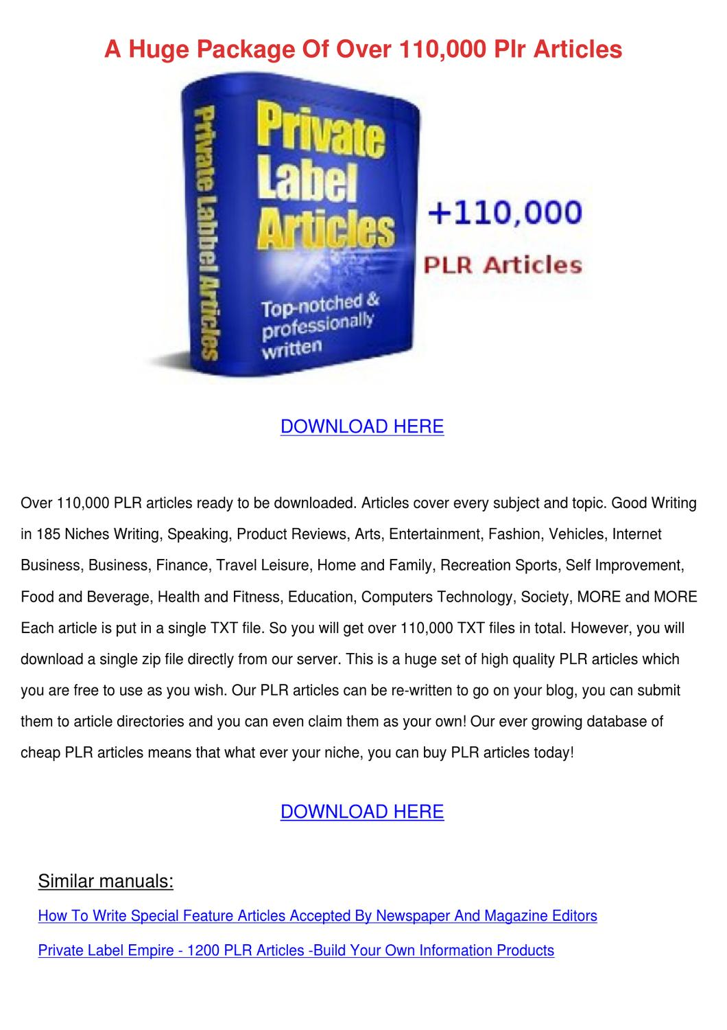 A Huge Package Of Over 110000 Plr Articles by Trudie Kaczor