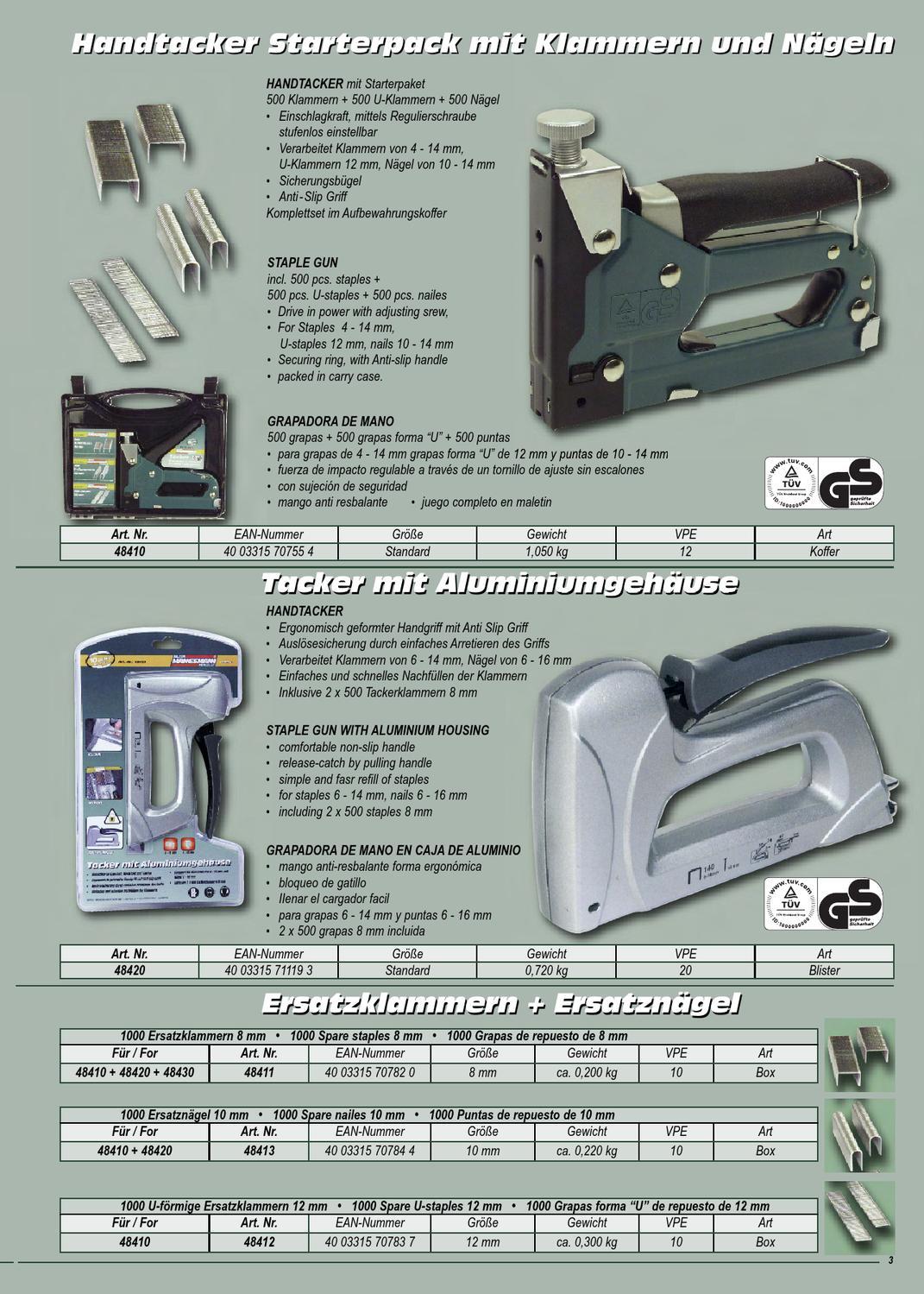 Komplett Set im Koffer Tacker Starterpack mit Handtacker Klammern und Nägel