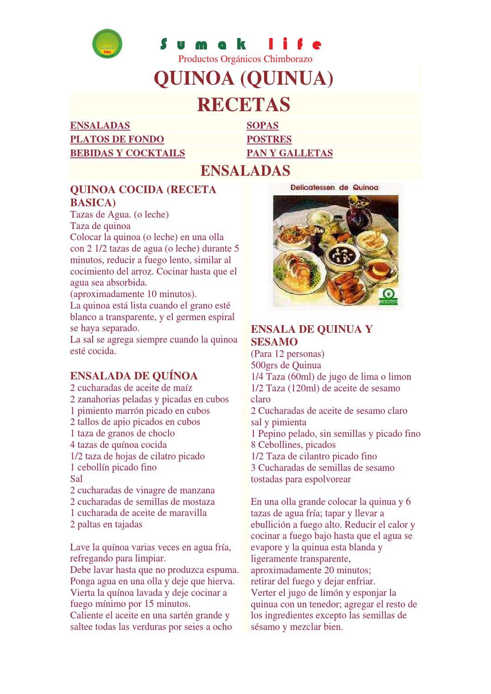 Molida preparaciones con quinua