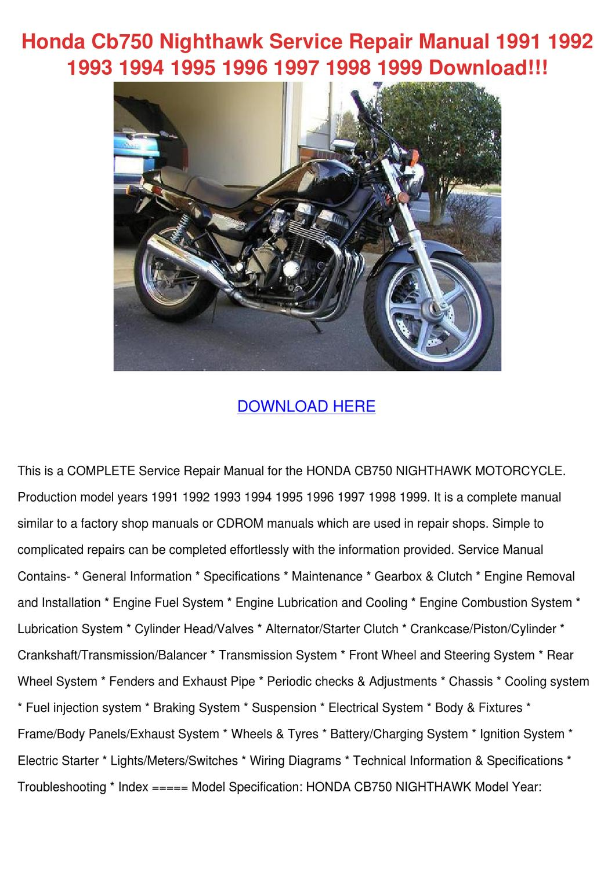Honda Cb750 Nighthawk Service Repair Manual 1 By Diedra
