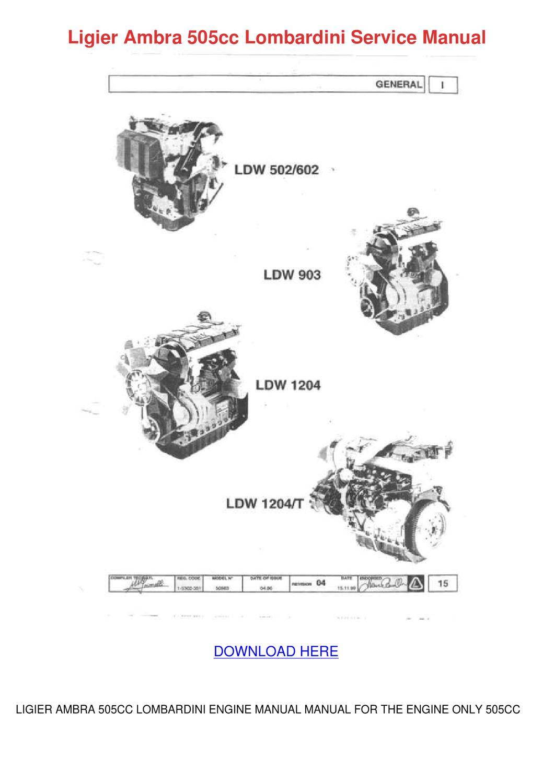 Ligier Ambra 505cc Lombardini Service Manual by Ingeborg Giannecchini -  issuu