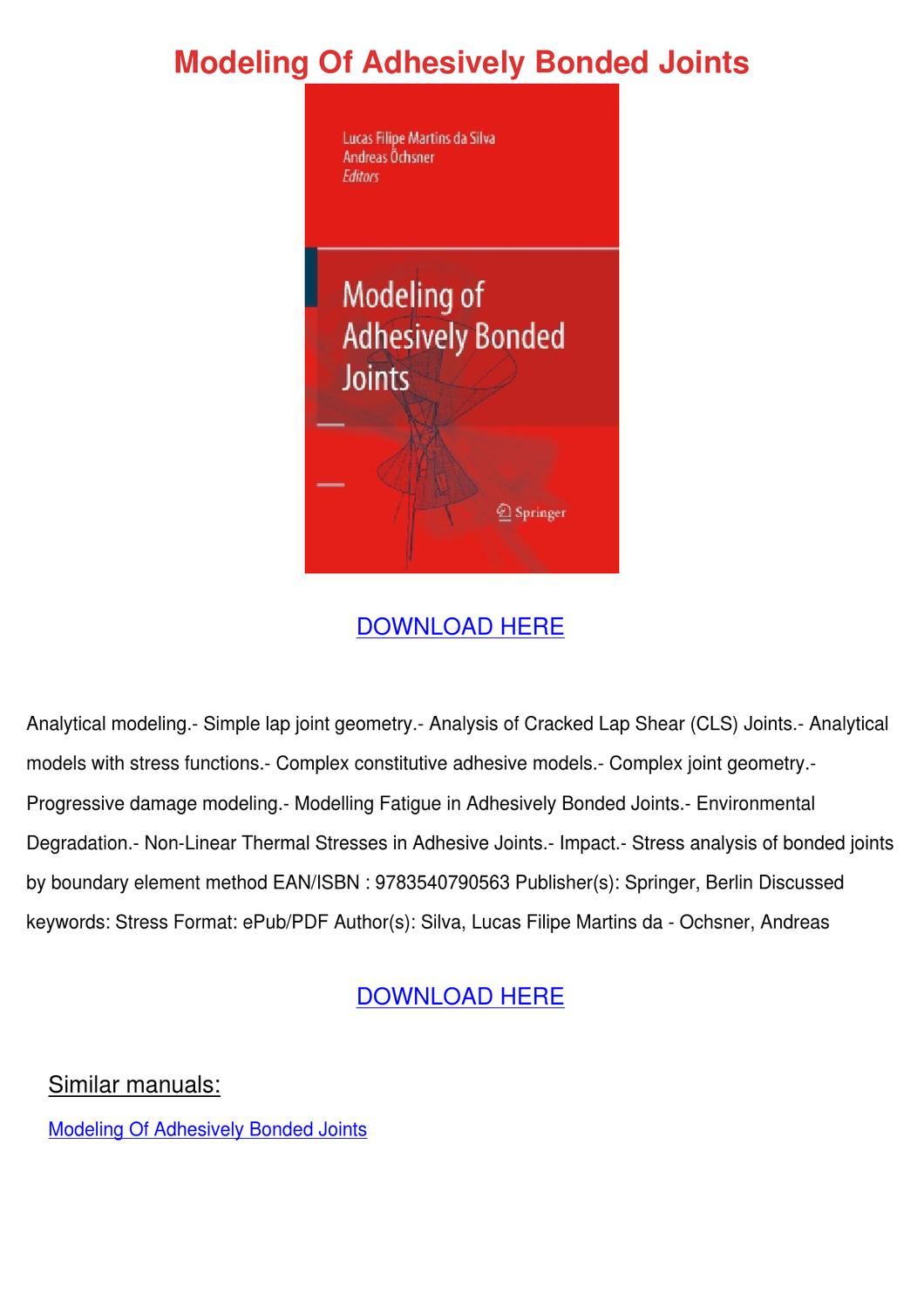 Modeling Of Adhesively Bonded Joints by Ingeborg