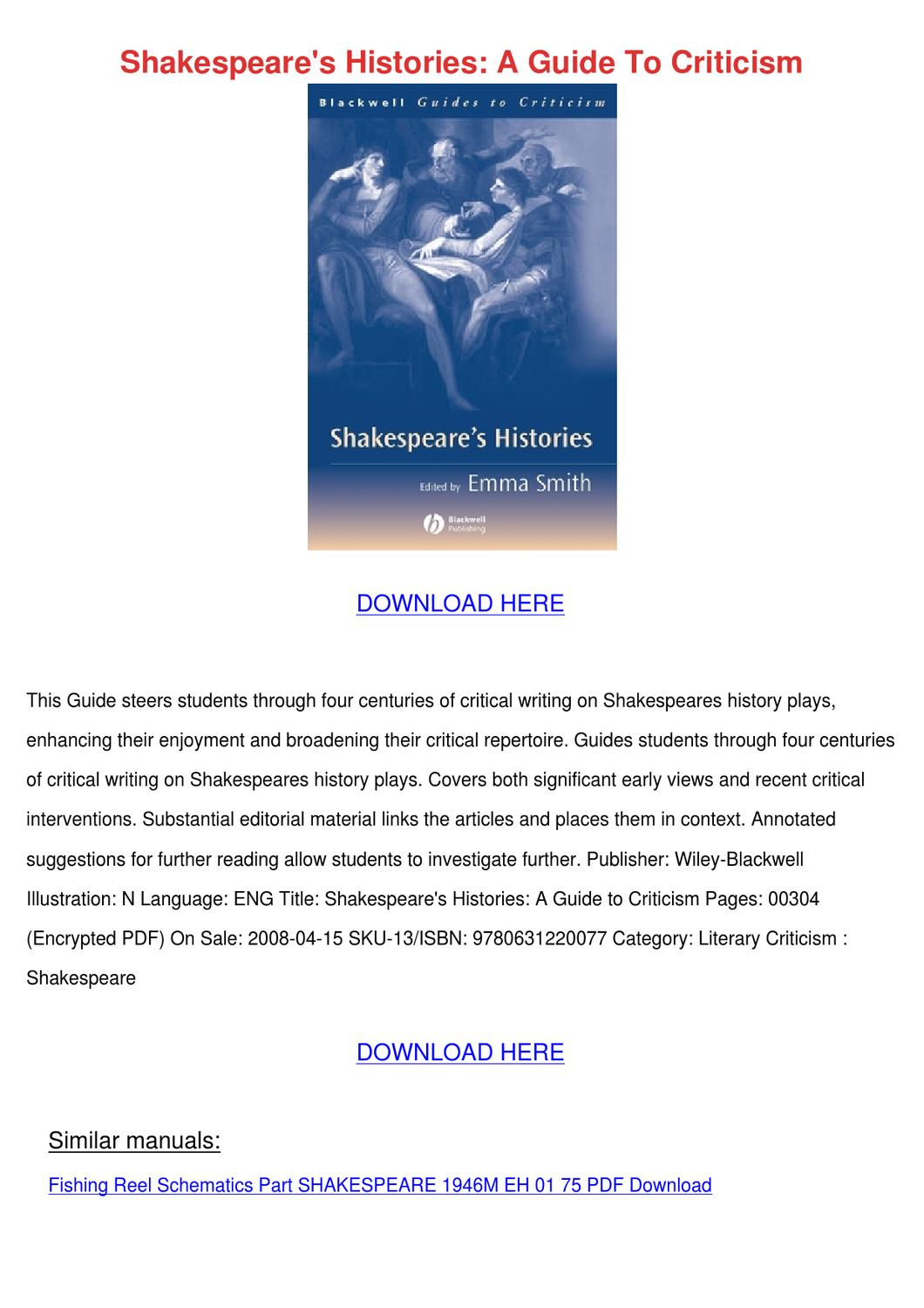 Shakespeares Histories A Guide To Criticism by Kisha Kroner - issuu