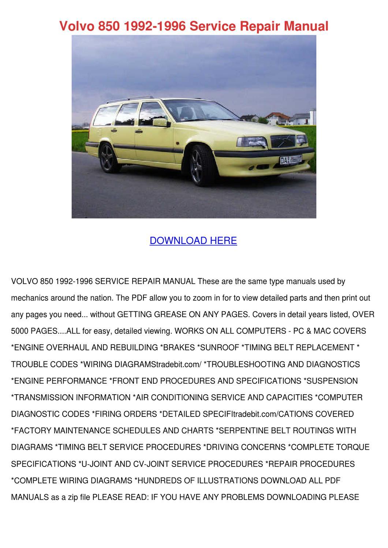 Volvo 850 1992 1996 Service Repair Manual By Brigitte